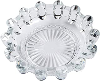 "Saim Round Crystal Glass Smoking Ashtray Home Office Tabletop Decoration 5.4"" Dia"