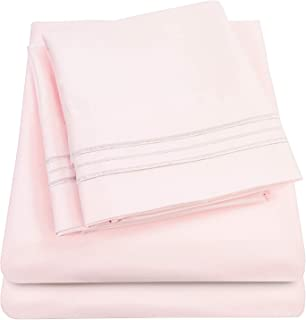 1500 Supreme Collection Extra Soft Queen Sheets Set, Pale Pink - Luxury Bed Sheets Set with Deep Pocket Wrinkle Free Hypoallergenic Bedding, Over 40 Colors, Queen Size, Pale Pink