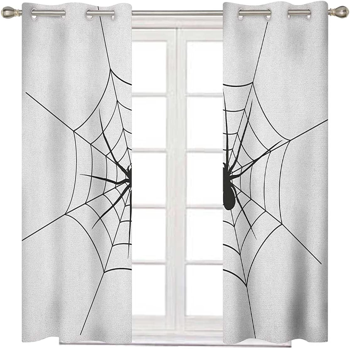 Sale SALE% OFF Spider Portland Mall Web Bedroom Blackout Curtains 63 Inches Black White Long