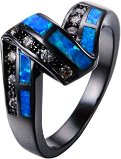 Ocean Blue Fire Opal Black Gold Filled Party Twist CZ Stone Unique Wedding Ring