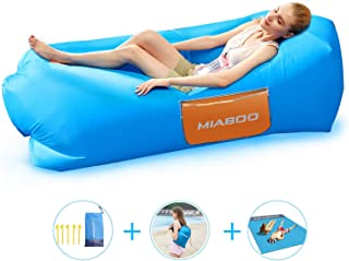Inflatable Lounger Air Sofa, 2019 Upgrade Non-Leaking Air Hammock Inflatable Chair Bed with Beach Blanket for Travelling Swimming Pool Outdoor Picnic Camping Music Festivals,Storage Sack Includ