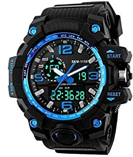 Xotak Analogue - Digital Multi-Functional Stainless Steel Dual Time Outdoor Blue Dial Sports Watches for Mens and Boys