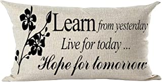 ramirar Word Art Quote Learn from Yesterday Live for Today Hope for Tomorrow Decorative Lumbar Throw Pillow Cover Case Cushion Home Living Room Bed Sofa Car Cotton Linen Rectangular 12 x 20 Inches