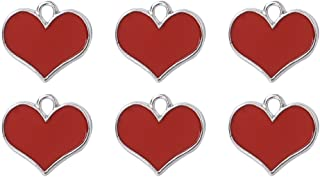 Oil Drip Red Heart Craft Supplies Valentine Wedding Charm Pendants for Jewelry Findings Making Accessory 10Pcs