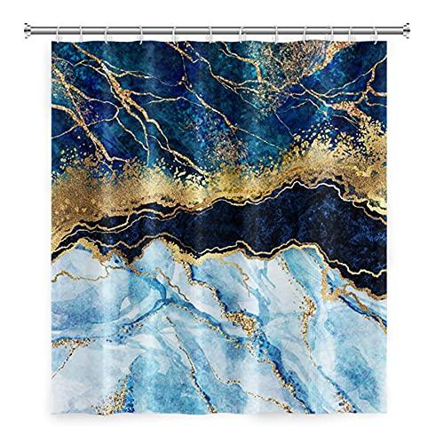 LFEEY Abstrakte marineblaue Marmor-Duschvorhänge für Badezimmer, goldene rissige Linien, Kristall-Geode, Duschvorhang, wasserdichter Stoff, Badewannen-Sets 119,9 x 183,9 cm