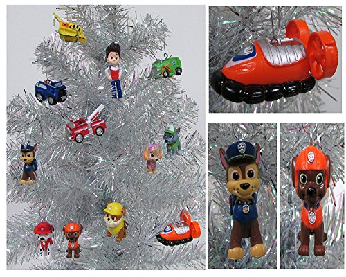 Paw Patrol 12 Piece Christmas Ornament Set Featuring Skye, Marshall, Chase, Rubbie, Zuma, Rocky, Ryder and Vehicles, Ornaments Average 1' to 2.5' Tall, Great for a Mini Christmas Tree