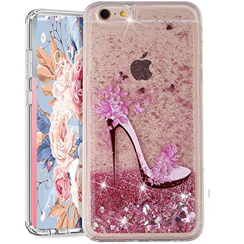 Funda para iPhone 6S Plus / 6 Plus, iPhone 6S Plus con purpurina arenas movedizas líquidas anticaída Flotantes Delgado Cristal Silicona Carcasa funda de silicona TPU para niñas mujeres,XY Shoe