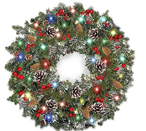 26 Inch Christmas Wreath,Decorative Wreath with Red Berries and Balls,Pine Cone,Pre-lit Spruce Wreath Garland with LED Lights