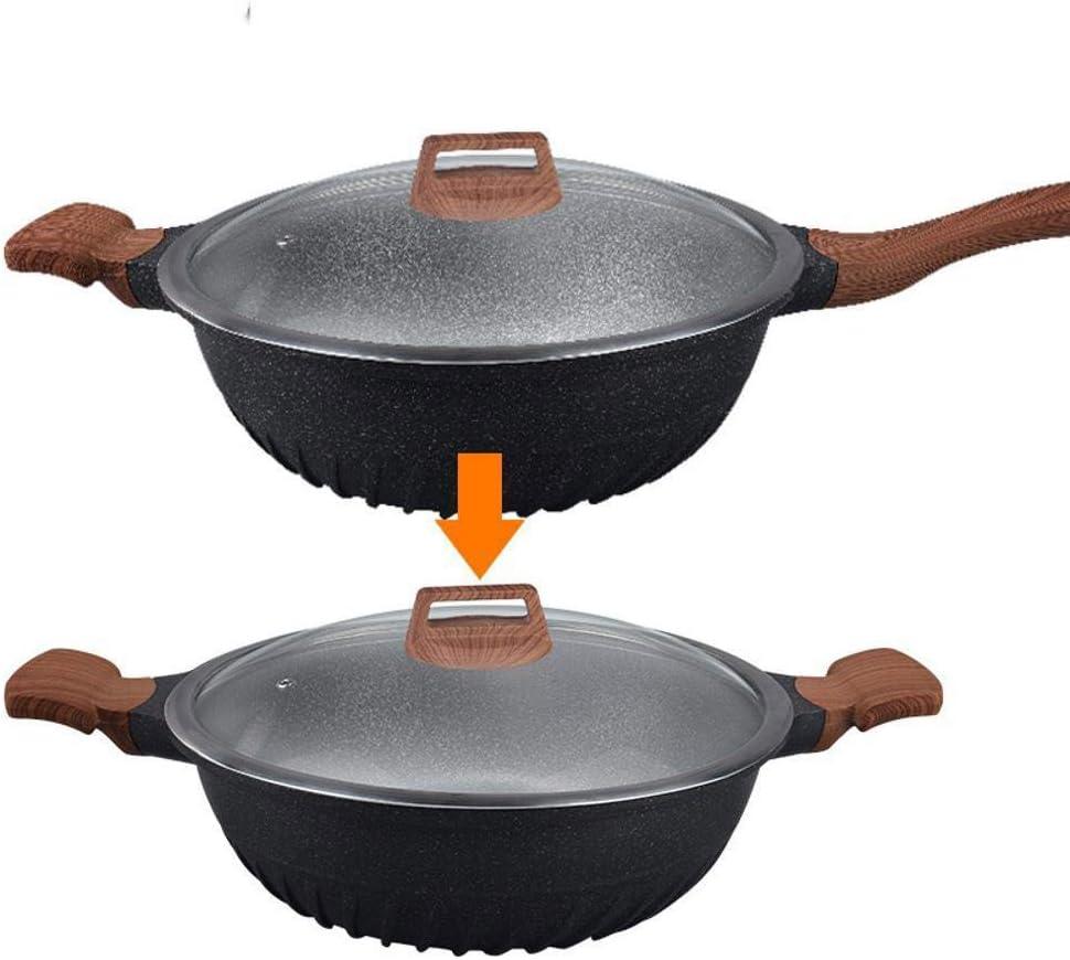 PZXY Woks Induction cuisinière polyvalente antiadhésif casserole frite sans huile Pierre pot Pan pan A