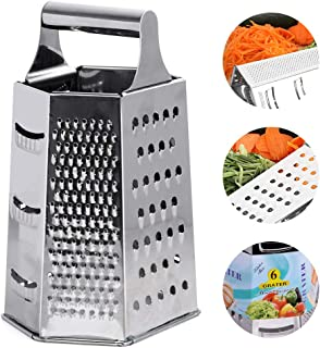 Phoenixee Cheese Grater, Nonstick Box Grater, Stainless Steel Graters for Kitchen, 9 Inch 6-Side Vegetable Grater, Practical Cucunber Grater, Stereoscopic Multipurpose Grater for Vegetable, Cheese