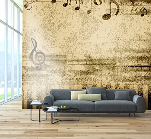 Papel pintado de la foto del PVC - etiqueta autoadhesiva de la pared de ECO Mural - etiqueta engomada de la pared del vinilo 3D - Notas musicales SW170(250X250CM)