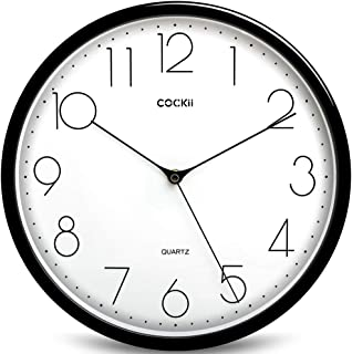 Cockii Large Number Wall Clock,12 Inch Silent Non-Ticking Quartz Decorative Round Clock, Battery Operated, Easy to Read for Home, Office, School(Black) …