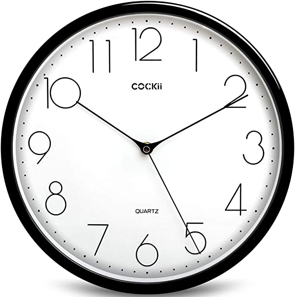 Cockii Large Number Wall Clock 12 Inch Silent Non Ticking Quartz Decorative Round Clock Battery Operated Easy To Read For Home Office School Black