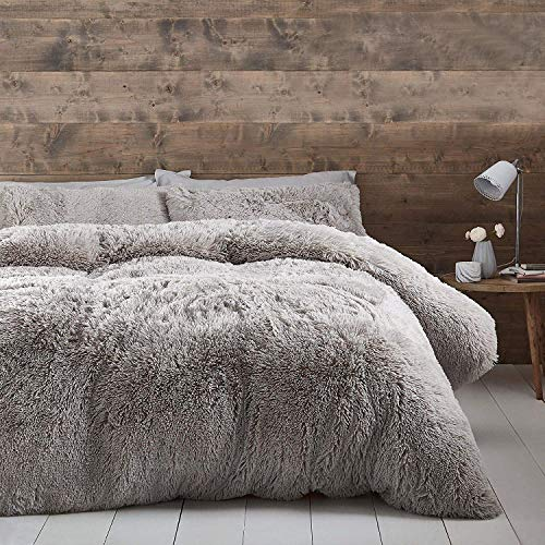 Catherine Lansfield Cuddly Deep Pile Super King Duvet Set Silver
