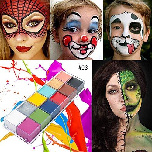 Volwco Juego de Pintura para el Cuerpo de la Cara, Kit de Pintura Facial de Halloween de Navidad con 12 Colores de Pintura al óleo, fácil de Lavar, Apto para niños y Adultos, Fiestas