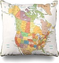 vjgdlz Fundas De Almohada De Tiro California América Color Retro Mapa Político EE. UU. Estado Canadá Norte Unido Viejo México Vintage Golfo Decoración del Hogar De Dos Lados Cama Colorid