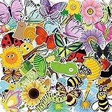 50 adesivi in vinile a forma di fiore primaverile e ape silkworm waterproof per finestre, frigorifero, decorazione finestre, motivo primavera, festa di compleanno