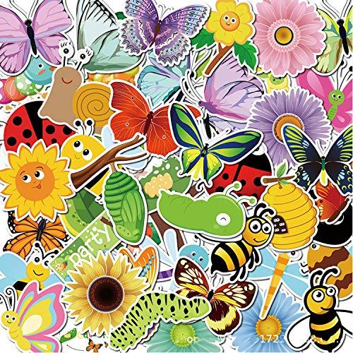 50 adesivi in vinile con motivo floreale e Bee Silkworm, impermeabili, per frigorifero, finestre, decorazione primavera, festa di compleanno