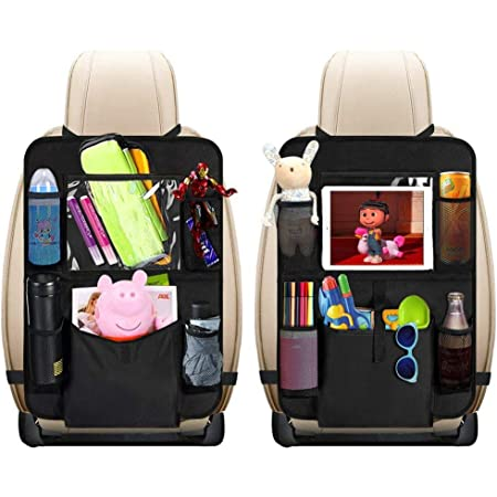 """Car Back Seat Organizer Kids - Car Organizers Covers Protectors with 10"""" Touch Screen Tablet Holder Large Storage Pockets Kick Mats for Toy Cartoon Journey Travel Accessories (Large Pocket)"""