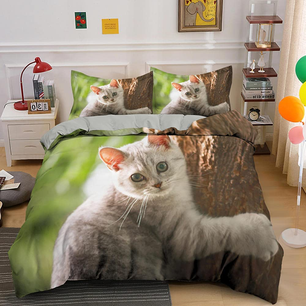 Twin Comforter Max 67% OFF Set Tree Cat Cover Soft Bedding Challenge the lowest price Microfiber Duvet