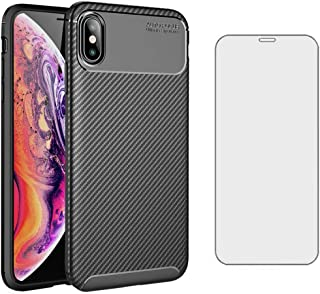 Phone Case for Apple iPhone Xs Max 6.5 inch 2018 with Tempered Glass Screen Protector Cover Cell Accessories Slim Thin TPU...