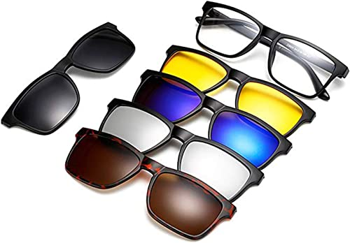 Black Resin Fashion Glasses Magnetic Inter Changeable Colour Shades with Pouch 5 Pieces