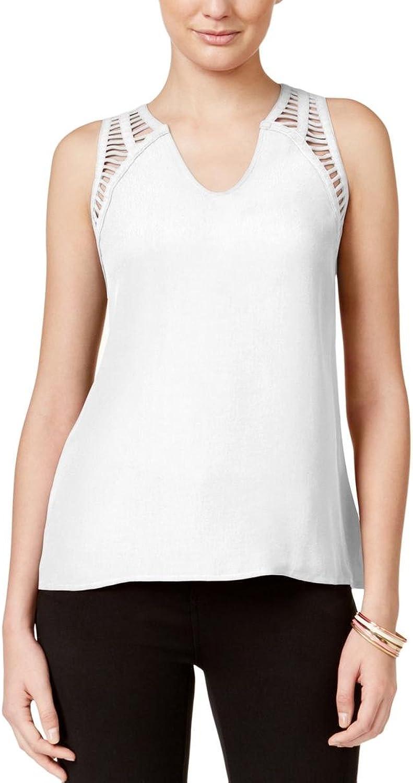 Bar III Women Lattice Detail Tank Top Washed White Solid Sheer Shirt