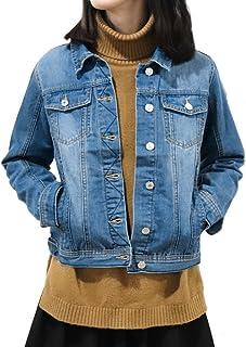 e3688805c7ebd Slim Women's Denim Jacket Blue Classic Casual Boyfriend Trucker Jacket Coat  Jean Jackets
