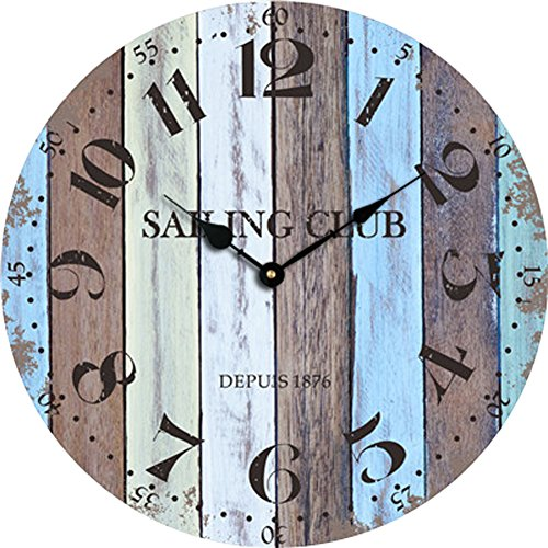 "Grazing 12"" Arabic Numerals,Vintage Rustic Shabby Chic Style,Blue and Brown Multi Bars,Wooden Round Home Decoration Wall Clock(Blue Ocean)"