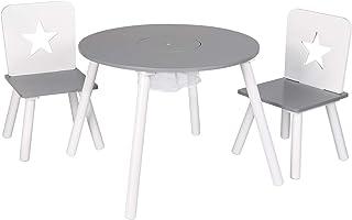 WOLTU 3 uds. Grupo de Asientos para Niños Mesa Redonda y 2 Sillas en Edad Preescolar Muebles para Niños 59.5 cm(φ) x 46 cm Blanco+Gris SG012