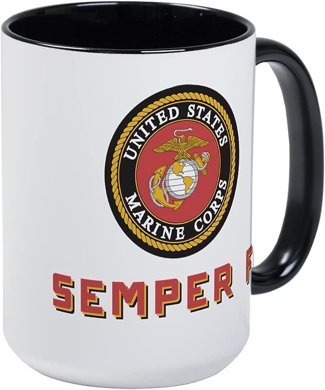 CafePress U S Marines Semper Fi Coffee Mug Large 15 Oz White Coffee Cup