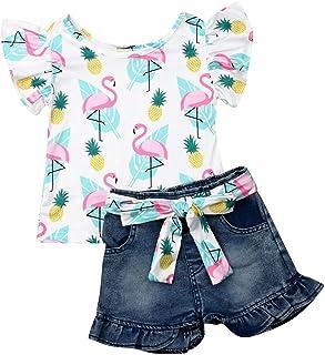 Geagodelia Vêtements pour bébé - Pour fille - Ensemble chemisier - T-shirt + short en jean - Doux pour l'été.