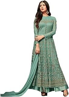 Shafnufab WOMEN'S Net Anarkali Semi Stitched Gown Salwar Suit (designer_partywear_salwarsuit_SF107151 Turquoise Free Size)