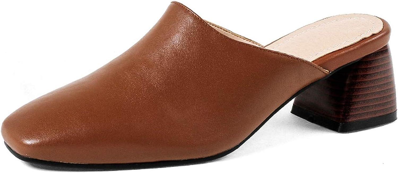 Thick High Heels Leather Women Slippers Hoof Heels Slides Square Toe Footwe,