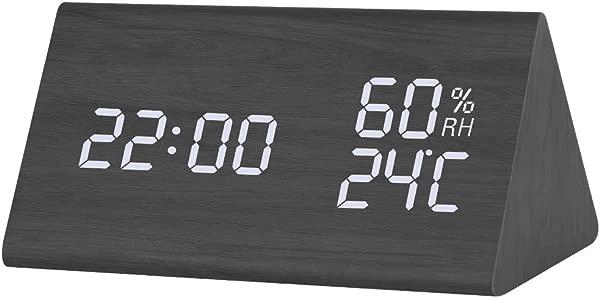 LORREEN Loreen Wooden Digital Alarm Clock Bedroom Kitchen Clock Displays Time Date Temperature And Humidity