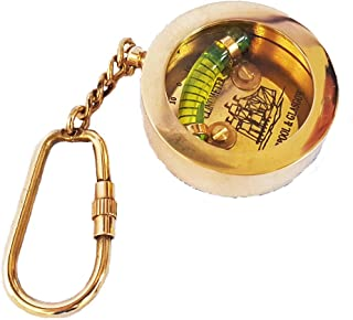 Nautical Inclinometer Key chain Brass Keychain Clinometer Compass Keyring Educational Key Tag