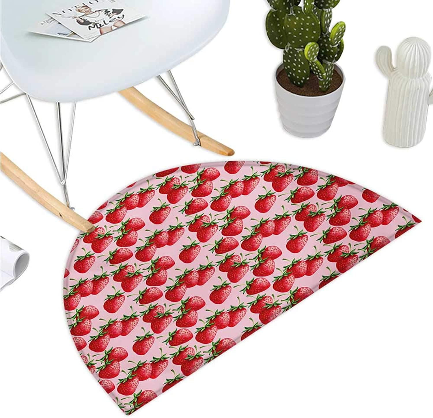 Red Semicircular Cushion Delicious Big Strawberries on Pink Background Tasty Juicy Sweet Ripe Summer Fruits Entry Door Mat H 43.3  xD 64.9  Red Green Pink