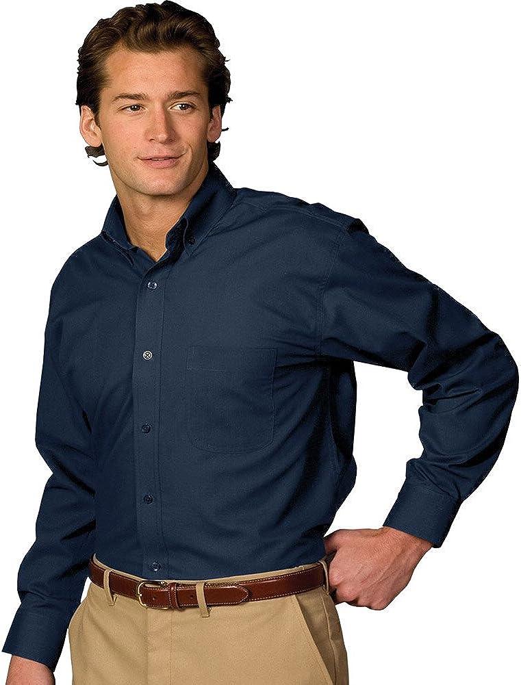 Edwards Men's Long Sleeve Soft Touch Poplin Shirt, Navy, XLarge