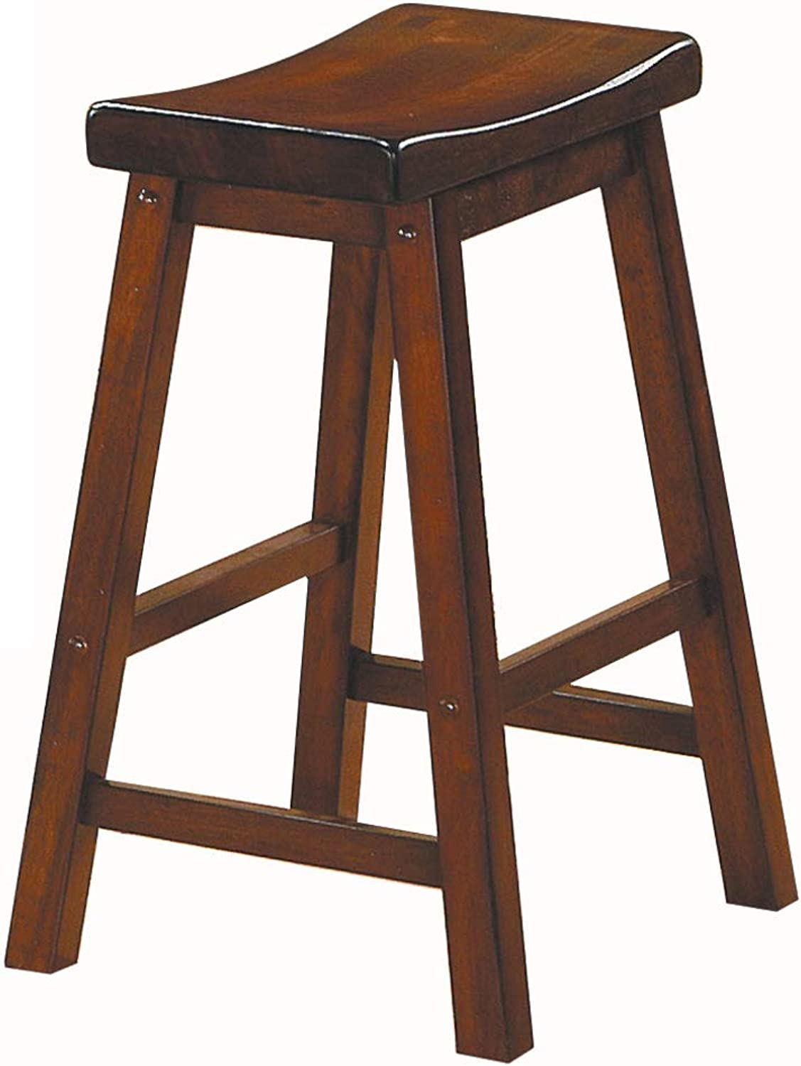 Benzara BM175980 Wooden Counter Height Stool with Saddle Seat, Set of Two, Brown