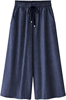 b72af43657 XinDao Women's Elastic Waist Wide Leg Cropped Capris Drawstring Jeans  Culottes Pants