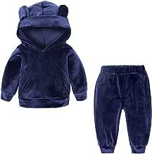 Verypoppa Kids Girls Boys 2 Piece Velvet Outfit Hoodie Sweatshirt Top Pants Tracksuit Set