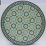 Casa Moro Marokkanischer Mosaiktisch Ankabut Türkis Ø 100cm rund mit Gestell H 73 cm Kunsthandwerk aus Marrakesch | Mediterraner Gartentisch Esstisch Balkontisch Bistrotisch MT2222