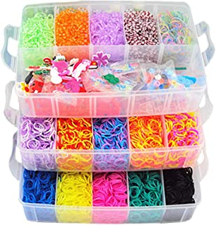 Rainbow Rubber Bands Organization Kit,Including 25 Colors 15,000 Leather Bands,A Knitter,40 Pendants,A Crochet,2 Monster Tail Knitters,5 Bags Beads. 9 Bags Of S Buckles,And 6 Small Crochets. (Color-A)