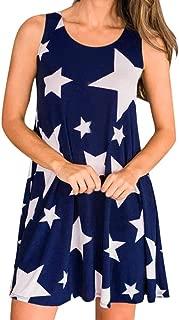 LONGDAY-Women Dress Longday Women Tank Dress Stars Dress T-Shirt Vest Tunic Flowy Top Blouse