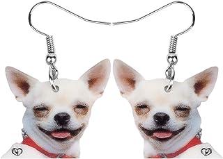 NEWEI Acrylic Fashion Chihuahua Dog Puppy Earrings Dangle Drop For Women Girl Charm Pet Jewelry Gifts