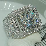 Cut Square 5A Zircon Engagement Ring Sterling Silver CZ Ring (10)