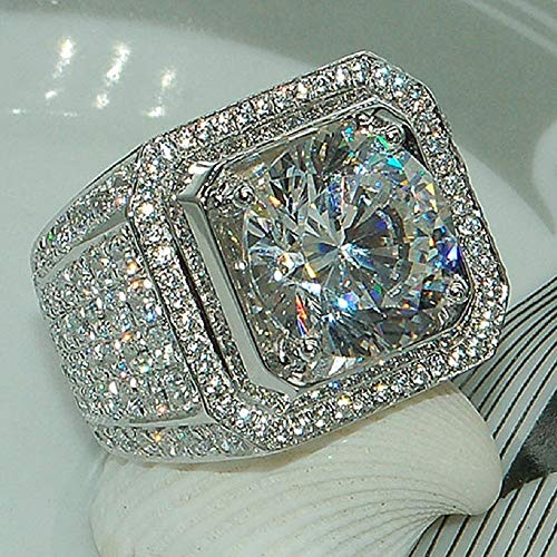 Cut Square 5A Zircon Engagement Ring Sterling Silver CZ Ring (7)