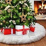 Jupe de Sapin de Noël, Peluche Arbre De Noel Decoration, Couvre Pied de Sapin Noel Jupe d'arbre de Noël Blanc, Tapis pour Sapin de Noel pour Décorations de Nouvel an Fete a la Maison, 90cm/36inch