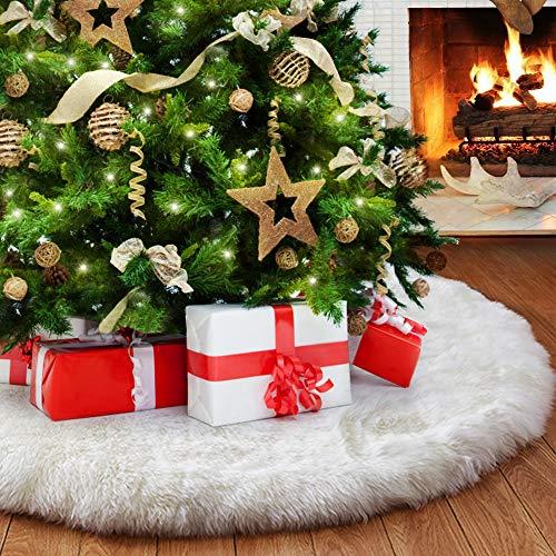 VZATT Falda de Árbol de Navidad, Blanco Piel Sintética Faldas de árbol, Felpa de Cubierta de la Base del árbol de Navidad para la Decoración de la Fiesta de Año Nuevo Fiesta Vacaciones Casa, 90cm