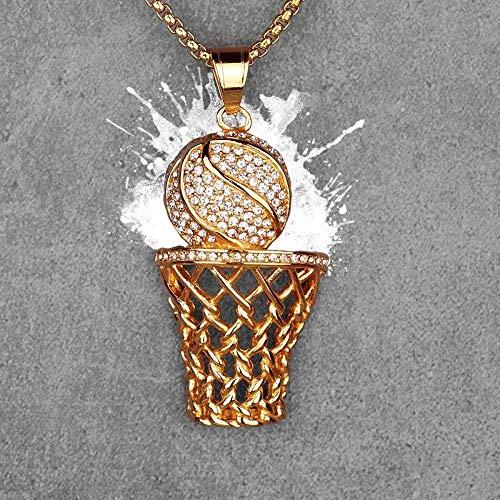 huangshuhua Collares de Baloncesto de Oro para Hombre Collares Largos Colgantes Cadena Punk Hip Hop para niños Hombre Joyería de Acero Inoxidable Regalo 60Cm